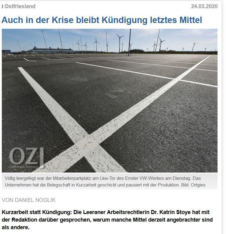Auch in der Krise: Kündigung beibt letztes Mittel – Interview mit der OZ vom 24.03.2020 zur Kurzarbeit u.a.
